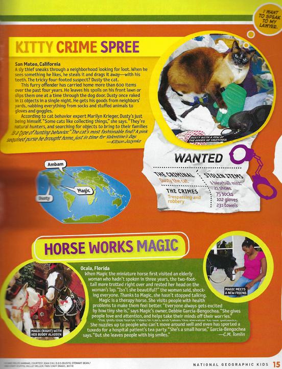 Therapy horses Magic and Aladdin in nov 2011 National Geographic Kids 552x722